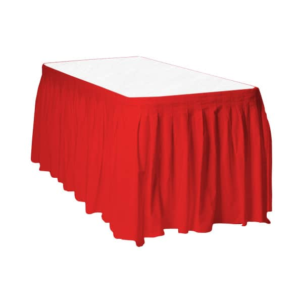 Red Plastic Table Skirt - 426cm x 74cm