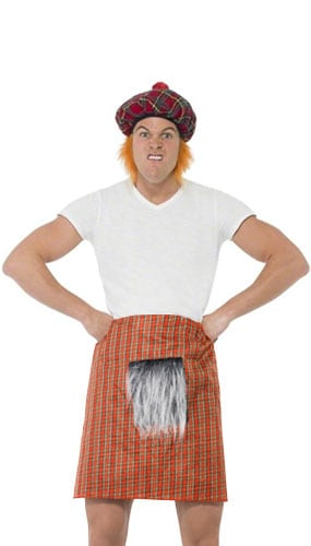 Red Tartan Kilt One Size Instant Fancy Dress Kit