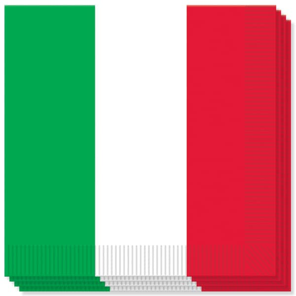 Red White and Green Theme 2 Ply Luncheon Napkins - 13 Inches / 33cm - Pack of 16