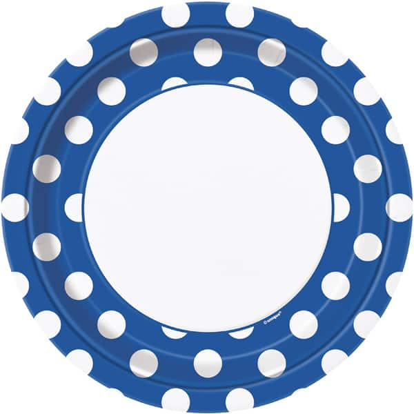 Royal Blue Decorative Dots Paper Plates 22cm - Pack of 8