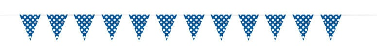 Royal Blue Decorative Dots Bunting - 12 Ft / 3.65m