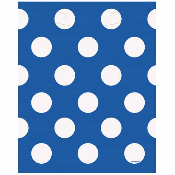 Royal Blue Decorative Dots Loot Bags - Pack of 8