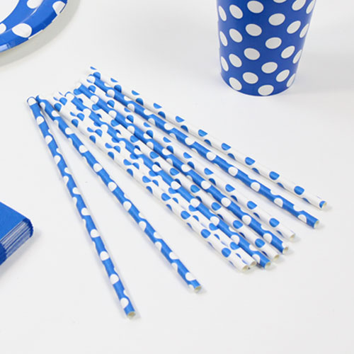 Royal Blue Decorative Dots Paper Drinking Straws - Pack of 10