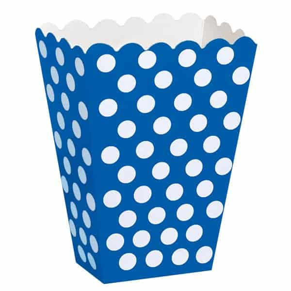 Royal Blue Decorative Dots Treat Boxes - Pack of 8