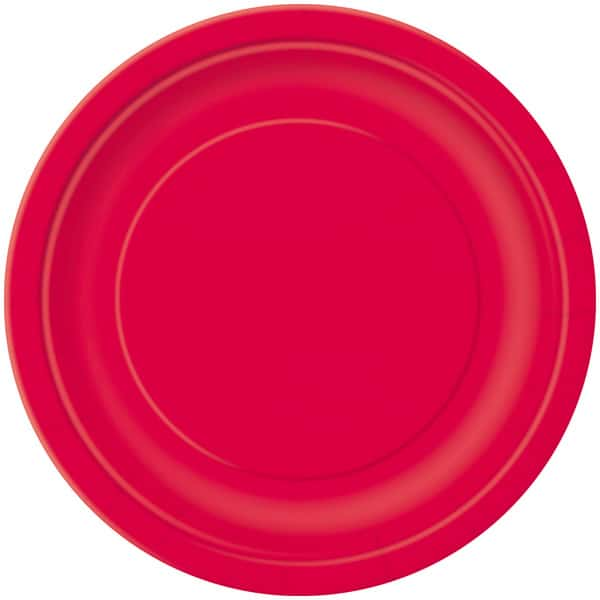 Ruby Red Round Paper Plates 22cm - Pack of 16