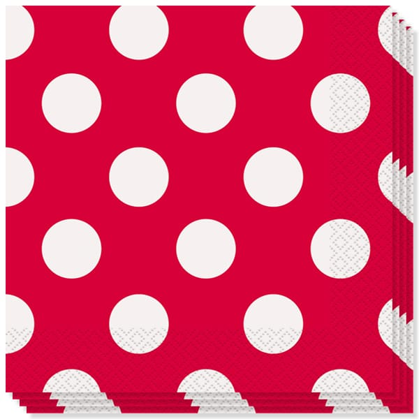 Ruby Red Decorative Dots 2 Ply Luncheon Napkins - 13 Inches / 33cm - Pack of 16