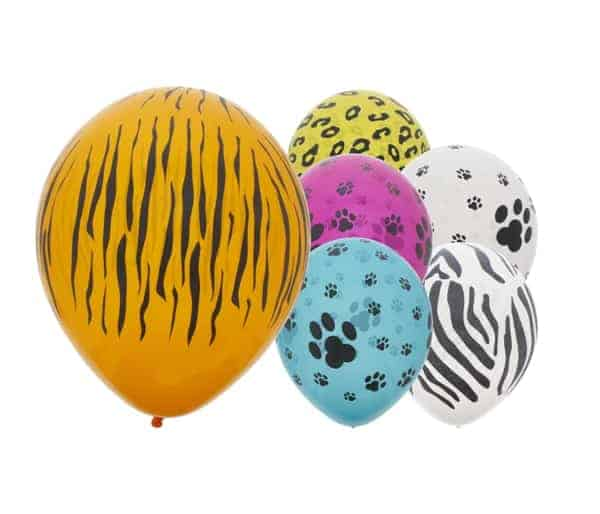 Safari Animal Print Assorted Latex Balloons 30cm / 12 in - Pack of 6