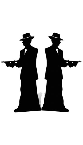 Silhouette Gangster Lifesize Cardboard Cutouts - 185cm - Pack of 2 Product Gallery Image