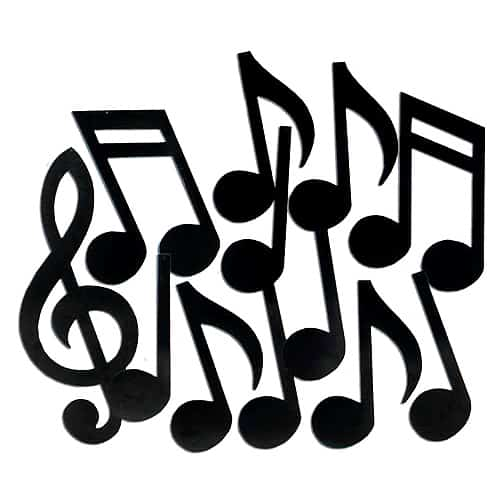 Musical Notes Silhouettes - Range from 12 to 21 Inches / 30 to 53cm - Pack of 12