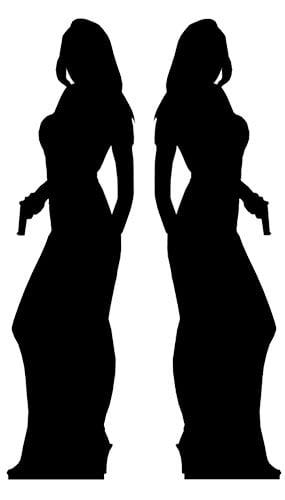 Silhouette Secret Agent Girl Lifesize Cardboard Cutouts - 180cm - Pack of 2 Product Gallery Image
