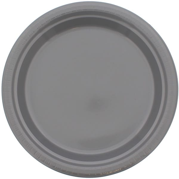 Silver Round Plastic Plates 23cm - Pack of 20
