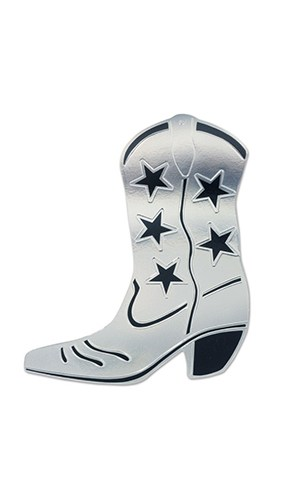 Silver Foil Cowboy Boot Decorative Cutout - 16 Inches / 41cm