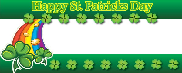 Happy St. Patricks Day Rainbow & Shamrock Design Small Personalised Banner- 4ft x 2ft