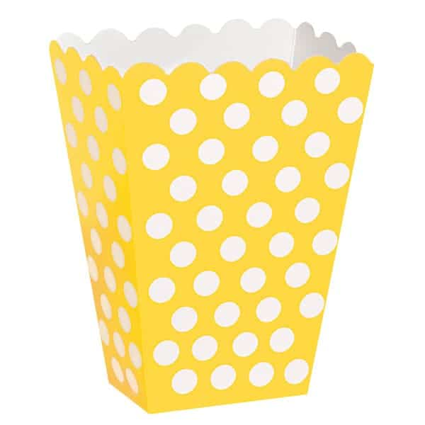 Sunflower Yellow Decorative Dots Treat Boxes - Pack of 8