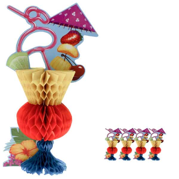 Tropical Cocktail Honeycomb Table Centrepiece - Pack of 5