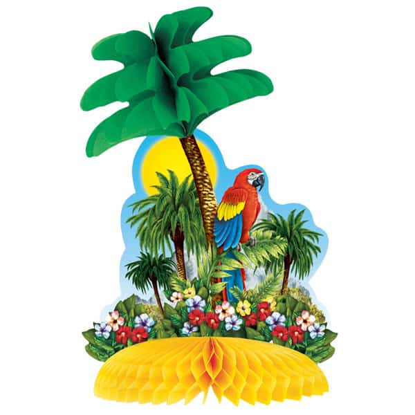 Tropical Island with Parrot Honeycomb Table Centrepiece Decoration 30cm