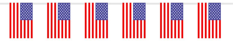 USA Flag Fabric Bunting - 9.75 Ft / 297cm - 10 Flags