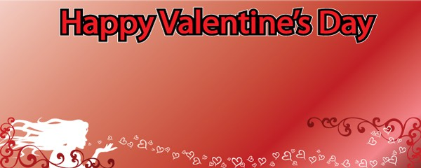 Valentines Day Blowing Hearts Design Small Personalised Banner- 4ft x 2ft