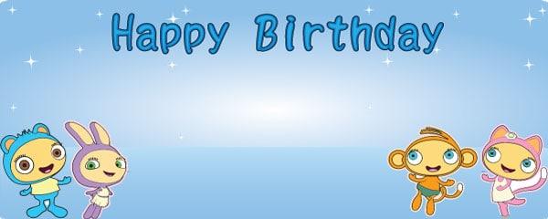 Happy Birthday Waybuloo Piplings Design Medium Personalised Banner - 6ft x 2.25ft