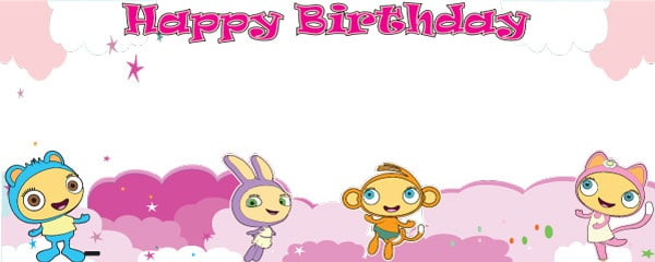 Happy Birthday Waybuloo Clouds Design Small Personalised Banner - 4ft x 2ft
