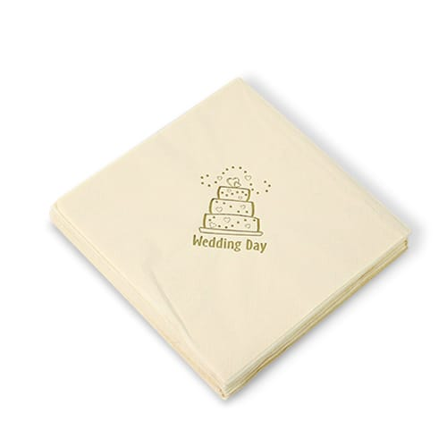 Wedding Cake Ivory 3 Ply Napkins - 16 Inches / 40cm - Pack of 20