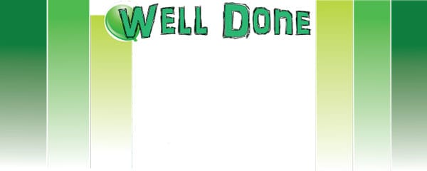 Well Done Green Blocks Design Small Personalised Banner- 4ft x 2ft