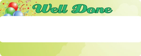 Well Done Green Clouds Design Small Personalised Banner- 4ft x 2ft