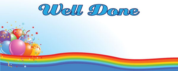 Well Done Colour Wave Design Small Personalised Banner- 4ft x 2ft