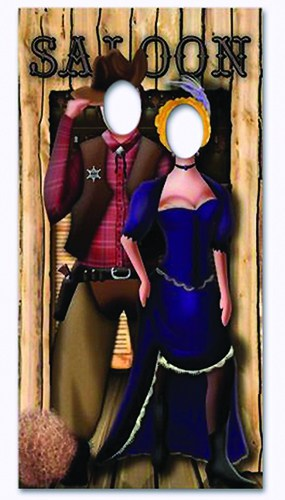 Western Saloon Couple Stand In Cardboard Cutout - 183cm