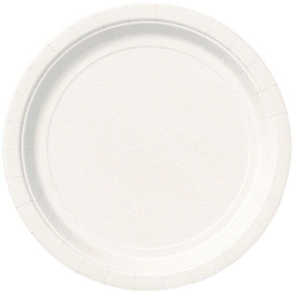 White Round Paper Plates 22cm - Pack of 16