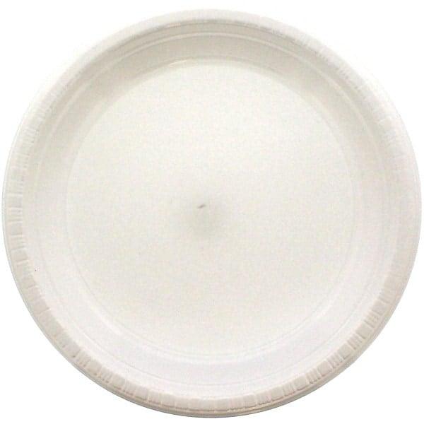 White Round Plastic Plates 23cm - Pack of 20