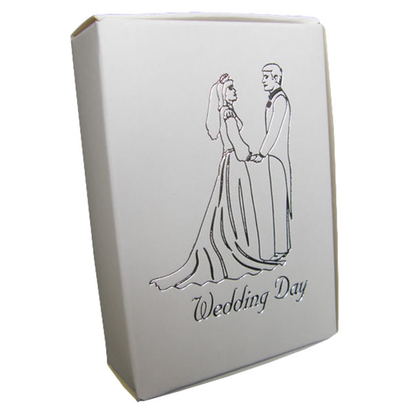 White Cake Boxes with Bride and Groom Wedding Day Print in Silver - Pack of 10