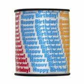 White Embossed 'Happy Birthday' Curling Ribbon – 75 yd / 68.5m