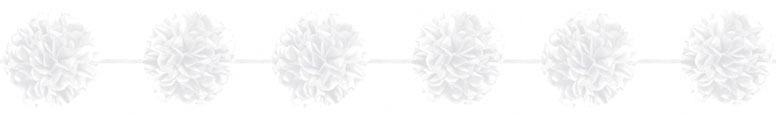White Fluffy Ball Paper Garland - Pack of 2