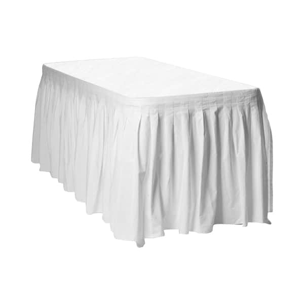 White Plastic Table Skirt - 426cm x 74cm