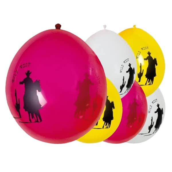 Wild Western Theme Latex Balloons - 10 Inches / 25cm - Pack of 6