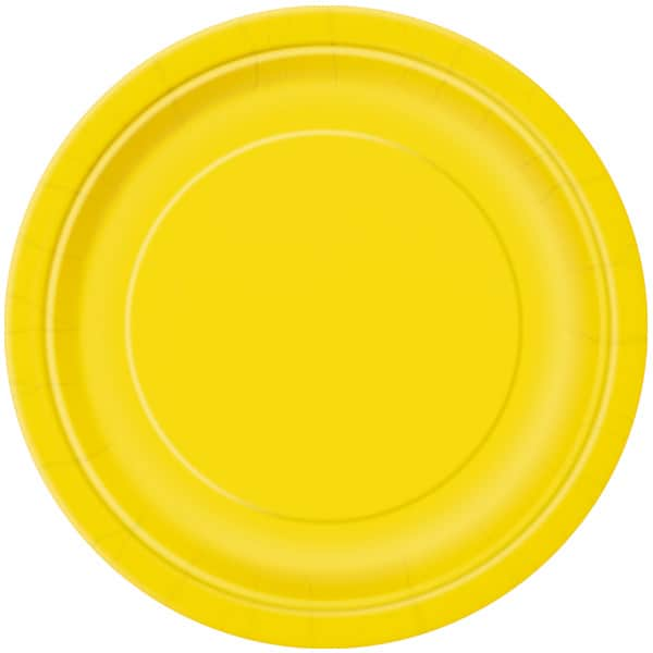 Yellow Round Paper Plates 22cm - Pack of 16