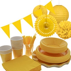 Yellow plain tableware