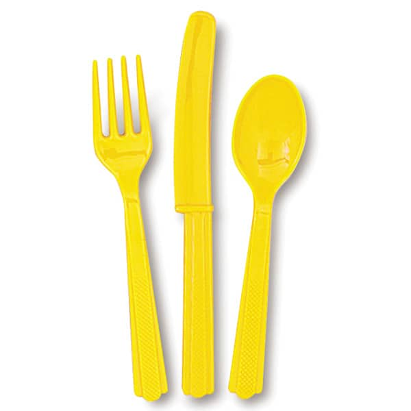 Yellow Plastic Cutlery Set (6 Forks 6 Knives and 6 Spoons)