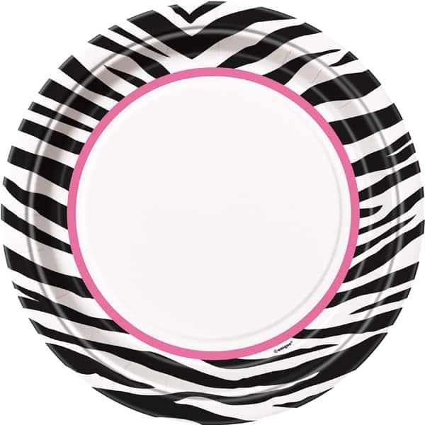 Zebra Round Paper Plate 22cm