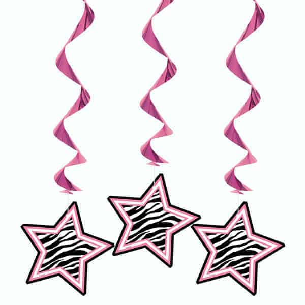 Zebra Stars Hanging Decorations - Pack of 3