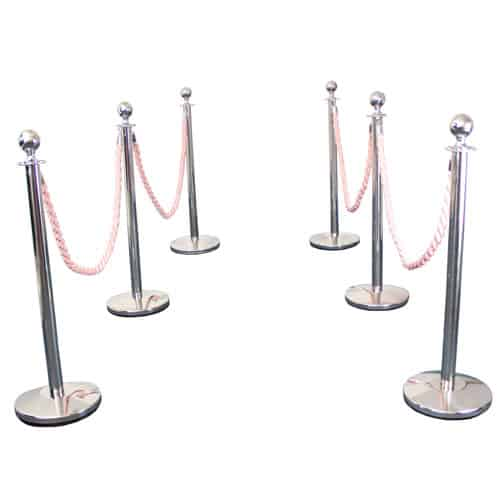 6 Prestige Chrome Poles With 4 Pink Braided Ropes Gallery Image
