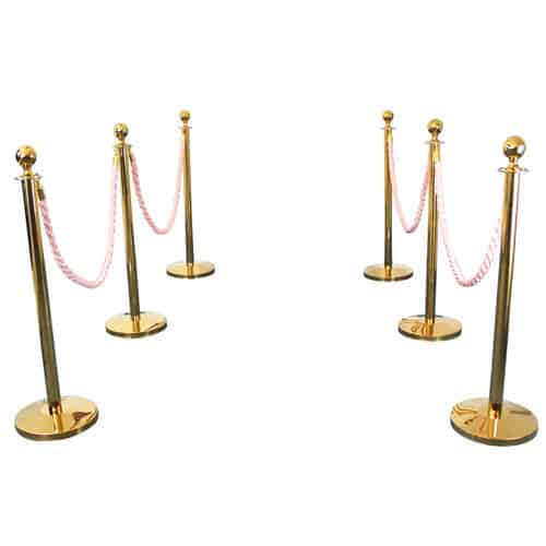 6 Prestige Brass Poles With 4 Pink Braided Ropes Gallery Image