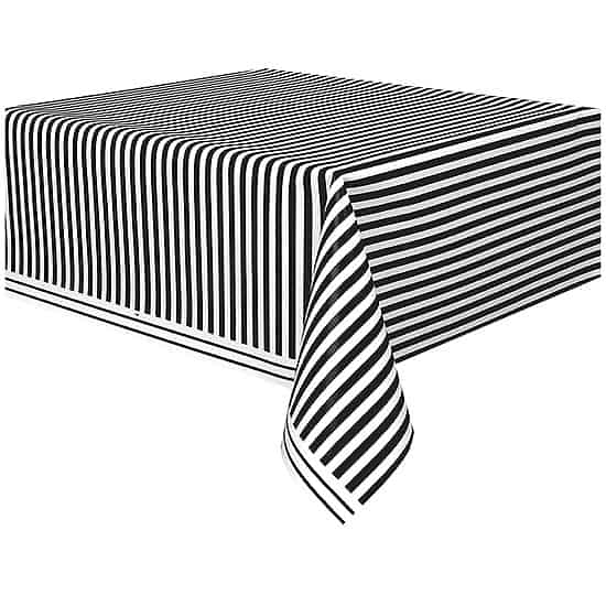 Black and White Stripes Plastic Tablecover 274cm x 137cm