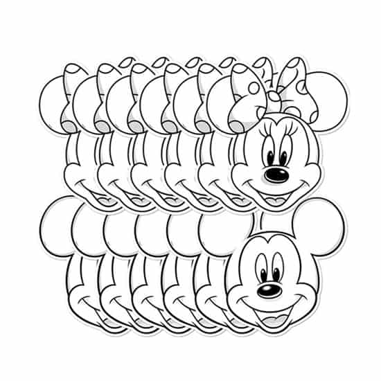 Mickey and Minnie Colour-in Cardboard Face Masks - Pack of 12 Product Gallery Image