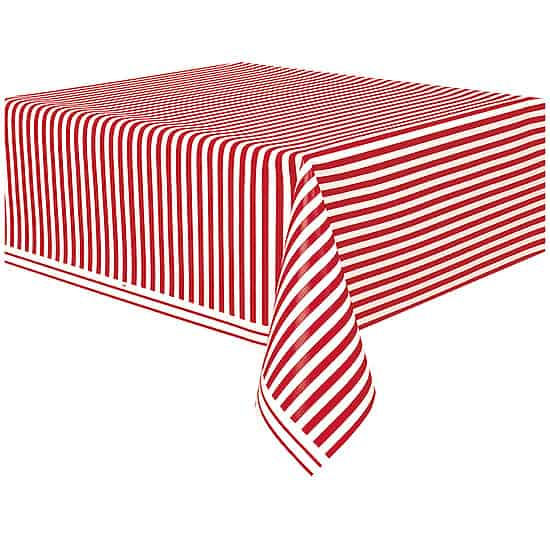 Red and White Stripes Plastic Tablecover 274cm x 137cm