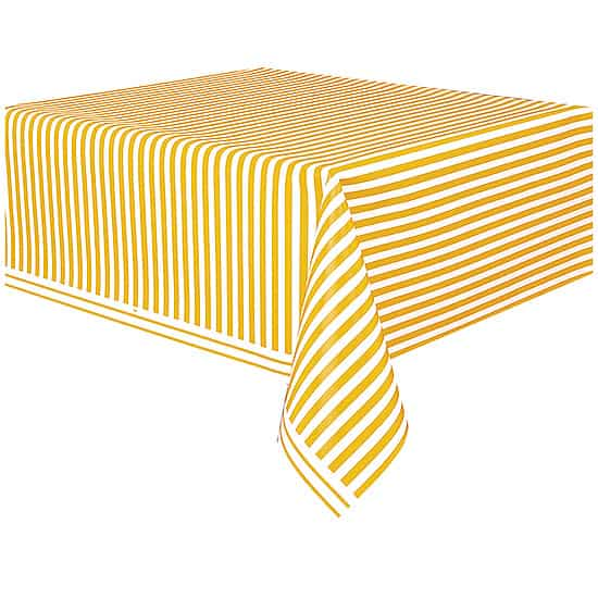Yellow and White Stripes Plastic Tablecover 274cm x 137cm