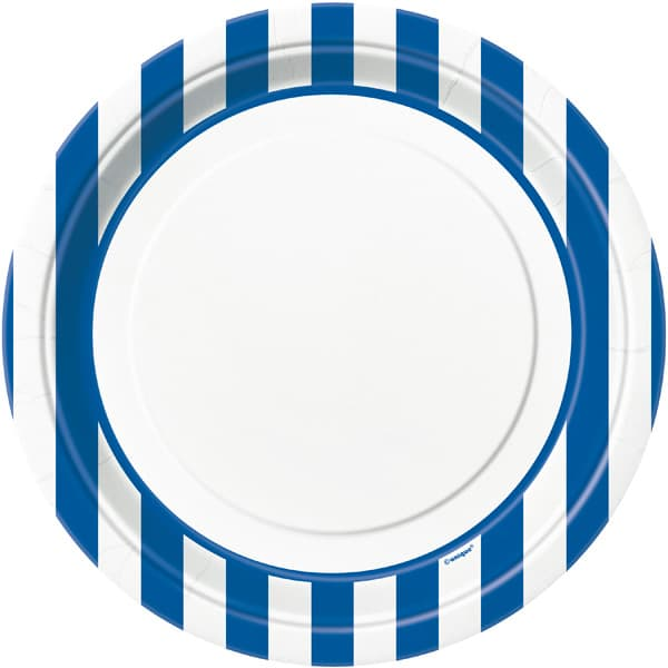 blue-and-white-stripes-theme-23cm-paper-plate-  sc 1 st  Partyrama & Blue and White Stripes Theme 22cm Paper Plate | Partyrama.co.uk
