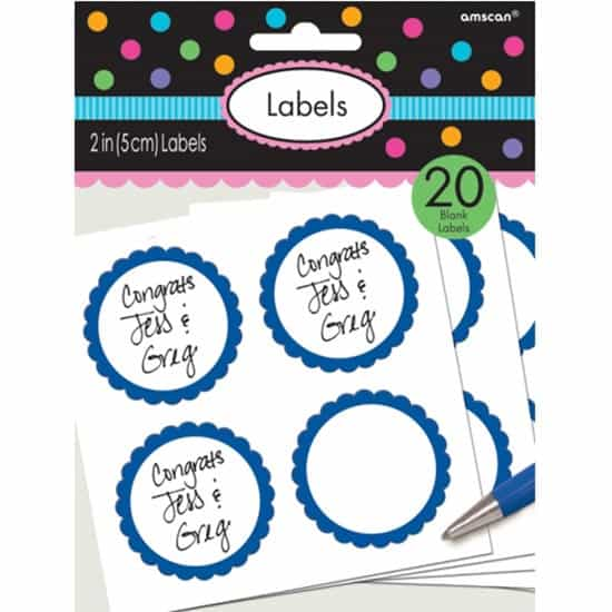 Blue Scalloped Sticker Labels - Pack of 20 Product Image