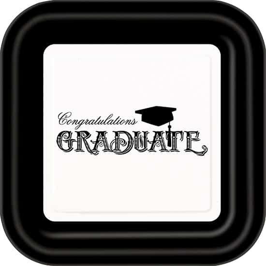 Congratulations Graduate Square Paper Plate 22cm